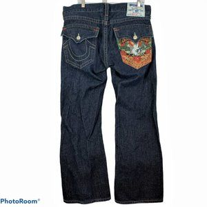 TRUE RELIGEON Mens 34 Embroidered Buddha Jeans